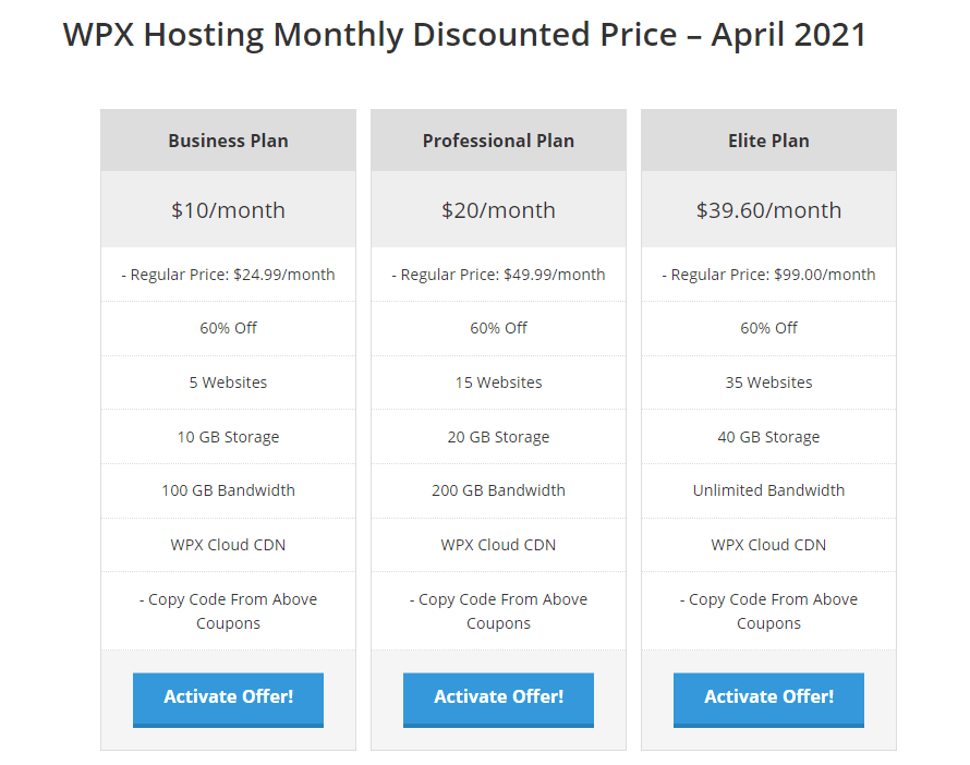WPX Hosting Monthly Discount